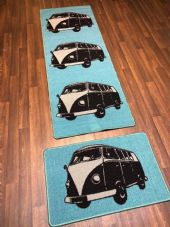 NO SLIP RUNNER 66X185CM APROX 6FTX2FT3 +DOORMAT 50X80 SET OF 2 BLUE/BLACK/GREY